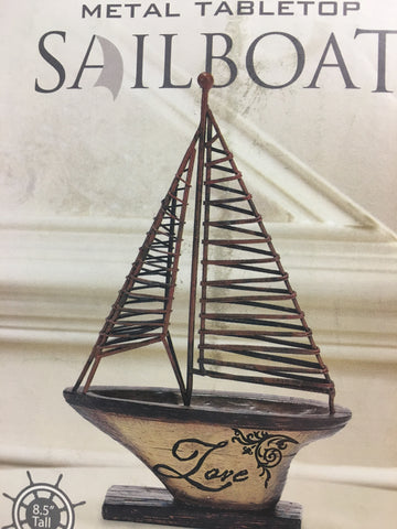 LOVE METAL TABLETOP SAILBOAT 8.5