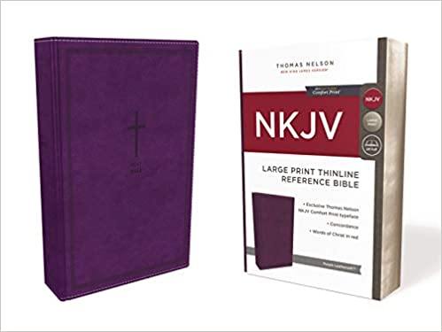 NKJV Large Print Reference Thinline Bible Purple Leather Like