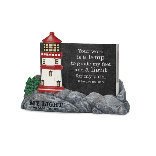 My Light-Lighthouse Scripture Cards W/Holder
