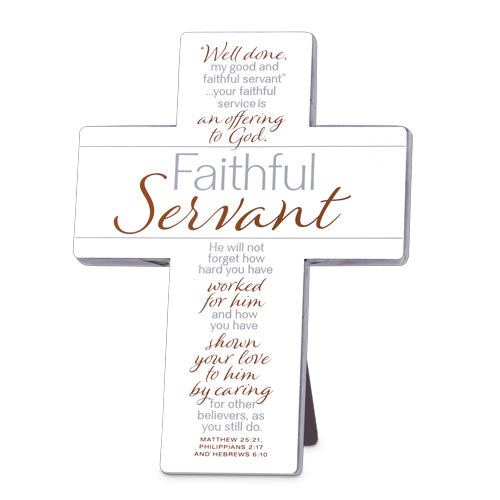 FAITHFUL SERVANT II CREAM METAL CROSS WALL/DESKTOP