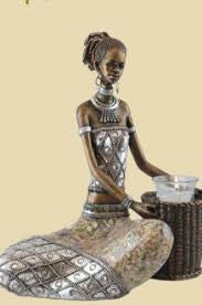 LADY SITTING WITH BASKET CANDLE HOLDER