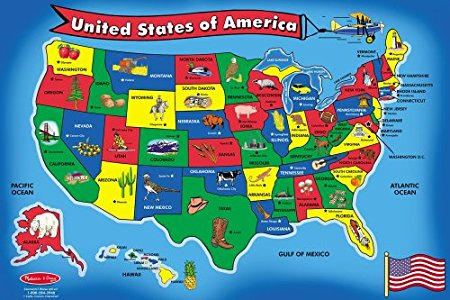USA FLOOR MAP 51 PIECES by Melissa & Doug