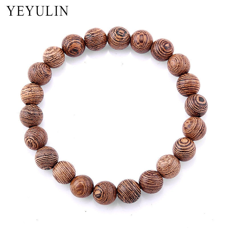 78IGHT Zebra Wood Bead Bracelet For Men Pair With Watch
