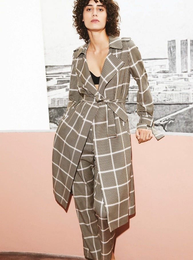 Plaid Trench
