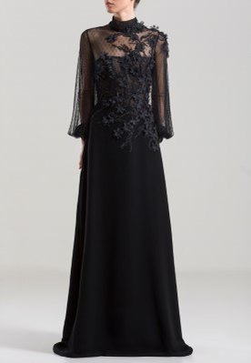 SK Embroidered Long-Sleeves Long dress