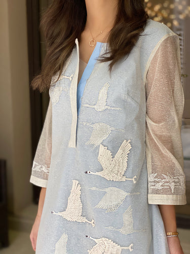 5X - Swans Shirt Dress