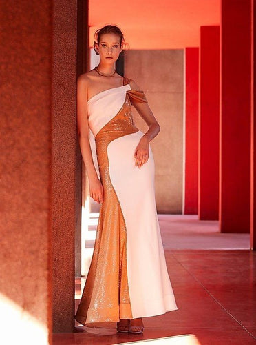 AVF- Draped Shoulder Long Dress