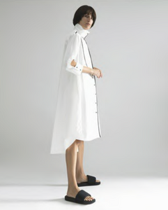 Shirt Dress with Black Piping
