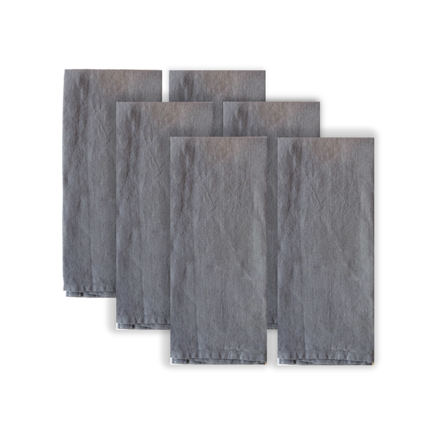 Set of 6 dark grey linen napkins