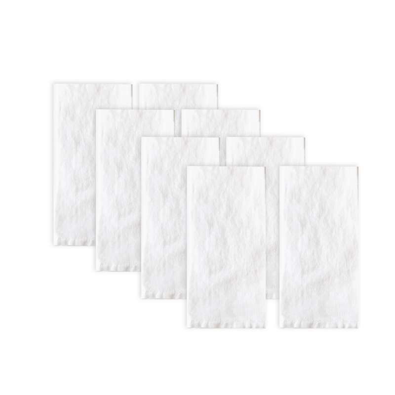 Set of 8 white white linen napkins