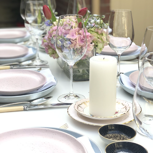 Pastel Dinner Perfection - table setting for 8