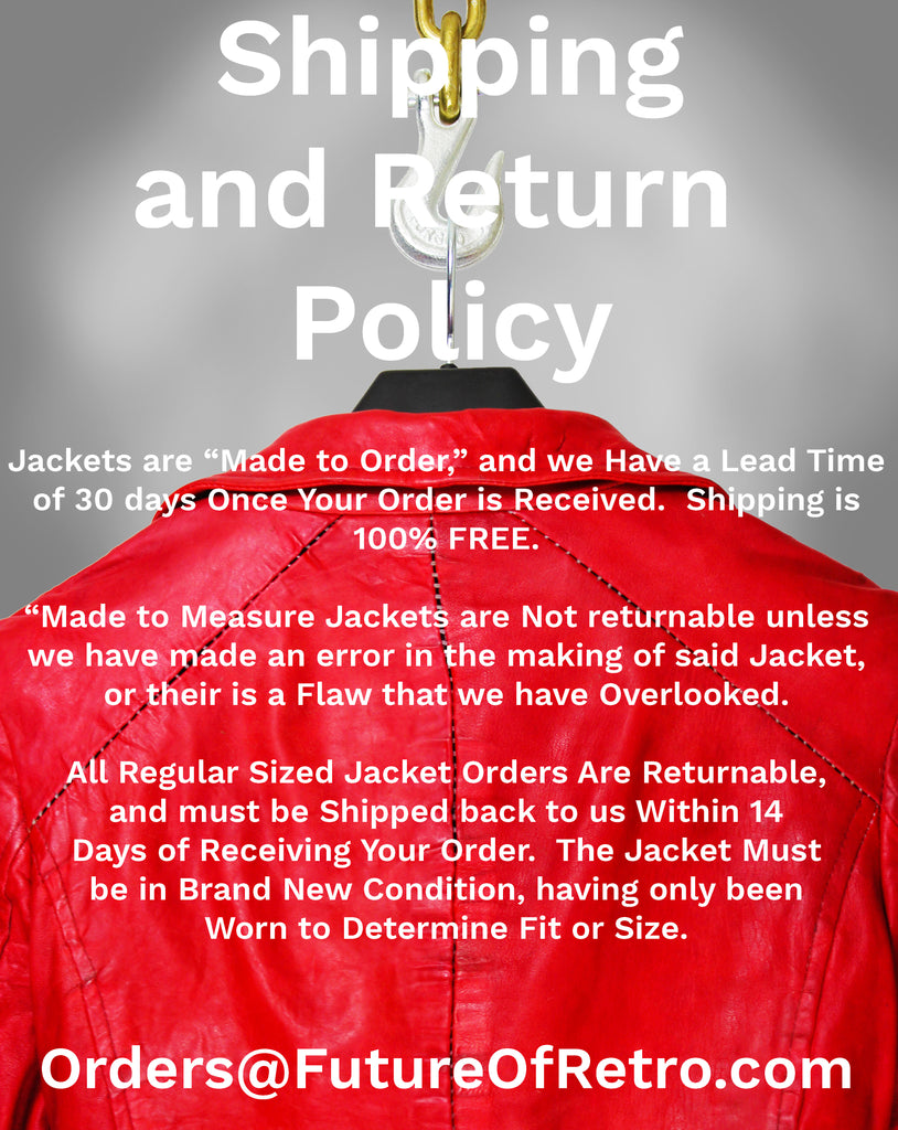 red leather jacket hanging on industrial hook with text overlay explaining shipping and return policy