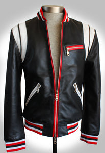 Red, White, and Black Striped Lambskin Varsity Leather Teddy Jacket