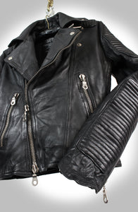 "Men's Noir ""Made To Measure"" Jet Black Heavy Washed Lambskin Double Rider Biker Jacket"