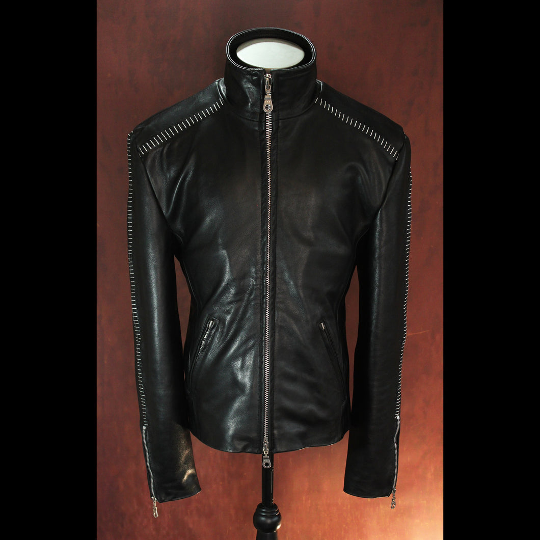 Full Aniline .9mm Calfskin Scar Stitched High Neck Leather Jacket