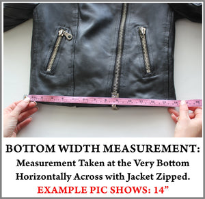 Example Picture of How to Take a Jacket Bottom Width Measurement
