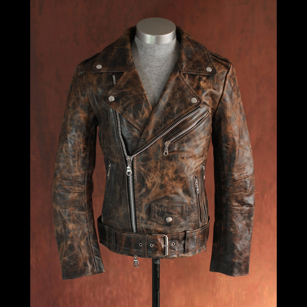 Men's Brown Multi Tone .9mm Heavy Calfskin Pull Up Double Rider Jacket