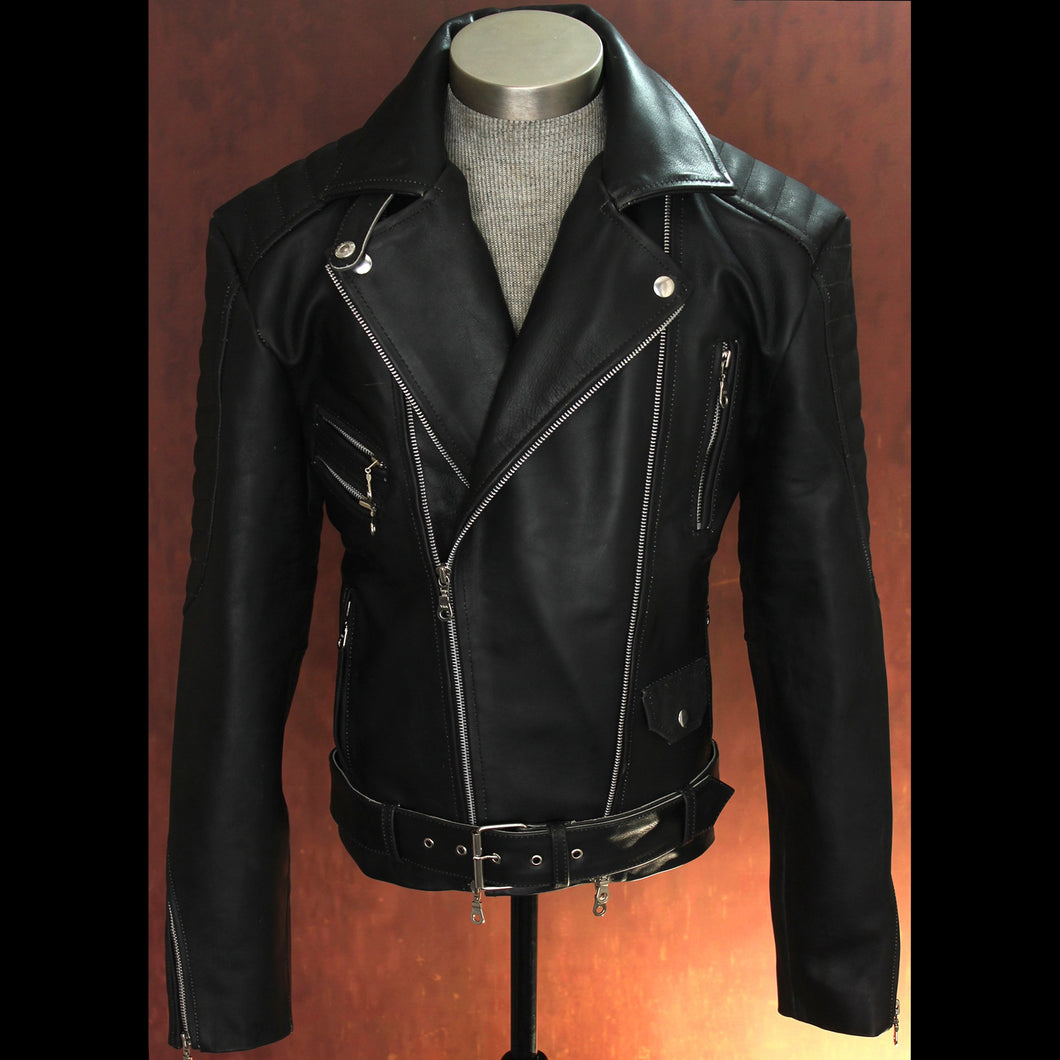 Men's Heavy 8mm Calfskin Jet Black Double Side Zip Biker Jacket
