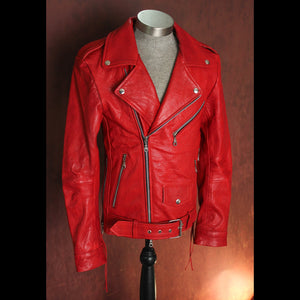Custom Listing for Randy Blood Red Ladies .9mm Vegetable Tanned Lambskin Flip Cuff Leather Jacket