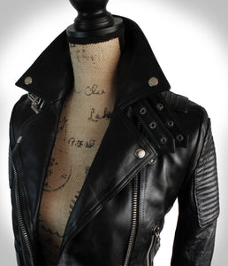 Close up Angled View of Collar Area of Ladies Black Leather Biker Jacket on Mannequin