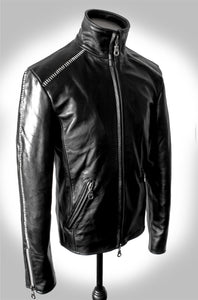 Men's Black Scar Stitch Heavy Calfskin Waxed High Neck Leather Jacket