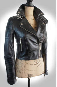 "The ""Scarlett Noir"" Made To Measure Ladies Jet Black Heavy Washed Lambskin Quilted Double Rider Biker Jacket"