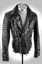 Men's Black Lambskin Heavy Washed Double Rider Biker Jacket