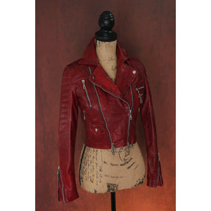 Oxblood Multi-Tone Burgundy Heavy Washed Lambskin Ladies Quilted Double Rider Biker Jacket
