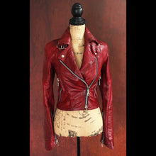 Oxblood Heavy Washed Lambskin Ladies Quilted Double Rider Biker Jacket