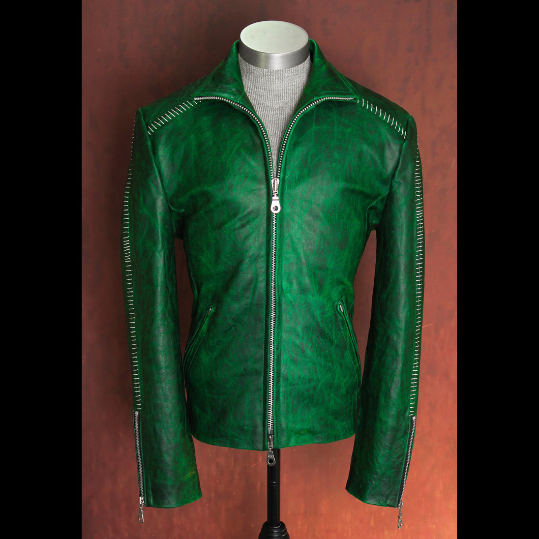 Emerald Color Tone Changing Pull Up .9mm Calfskin Scar Stitched High Neck Leather Jacket