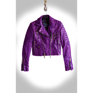Orchid Multi Tone Purple Heavy Washed Lambskin Ladies Quilted Double Rider Biker Jacket