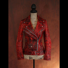 Women's Red Multi Tone Pull Up Double Rider Leather Biker Jacket