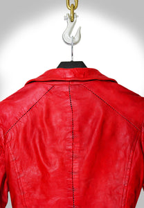 Close Up View of Scar Stitching on Red Biker Jacket Hanging on Hook