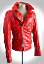 Angled Side View of Red Form Fitting Biker Jacket With Collar Up