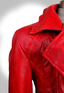 Close Up View of Scar Stitching on Shoulder of Red Leather Biker Jacket