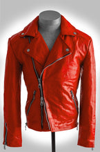 Men's Blood Red Calf Heavy Washed and Waxed Double Rider Biker Jacket