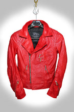 Red Future of Retro Biker Jacket Hanging on Hook