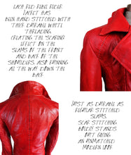 Description of Scar Stitching with Multiple Views of Scar Stitching on Shoulder and Back of Red Leather Jacket