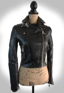 Full Frontal View of Ladies Biker Jacket Fully Zipped Up Displayed on Mannequin