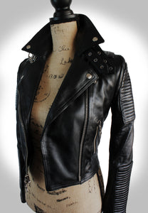 Full Angled Side View of Ladies Black Biker Jacket Fully Unzipped Displayed on Mannequin