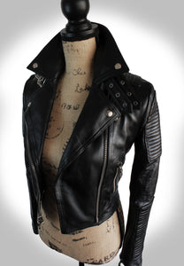 Full Angled Side View of Ladies Black Leather Biker Jacket on Mannequin