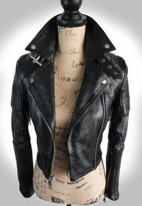 Full Frontal View of Ladies Black Biker Jacket Unzipped Displayed on Mannequin