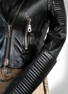 Close Up View of Zipper Hardware and Leather Quilting on Ladies Black Leather Biker Jacket