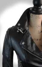 Close Up Frontal View of Ladies Black Leather Biker Jacket Collar Displayed on Mannequin