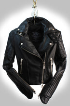 Full Frontal View of Ladies Black Leather Biker Jacket Partially Zipped Up Hanging on Industrial Hook