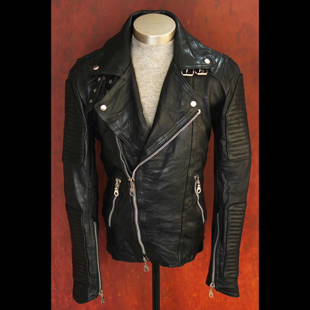 Men's Noir Jet Black Heavy Washed Lambskin Double Rider Biker Jacket