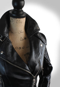Close Up View of Collar of Womens Black Leather Biker Jacket on Mannequin