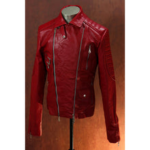Men's Heavy 8mm Calfskin Red Double Side Zip Biker Jacket