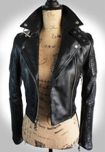 Full Frontal View of Ladies Biker Jacket Fully Unzipped with Collar Popped Up Displayed on Mannequin