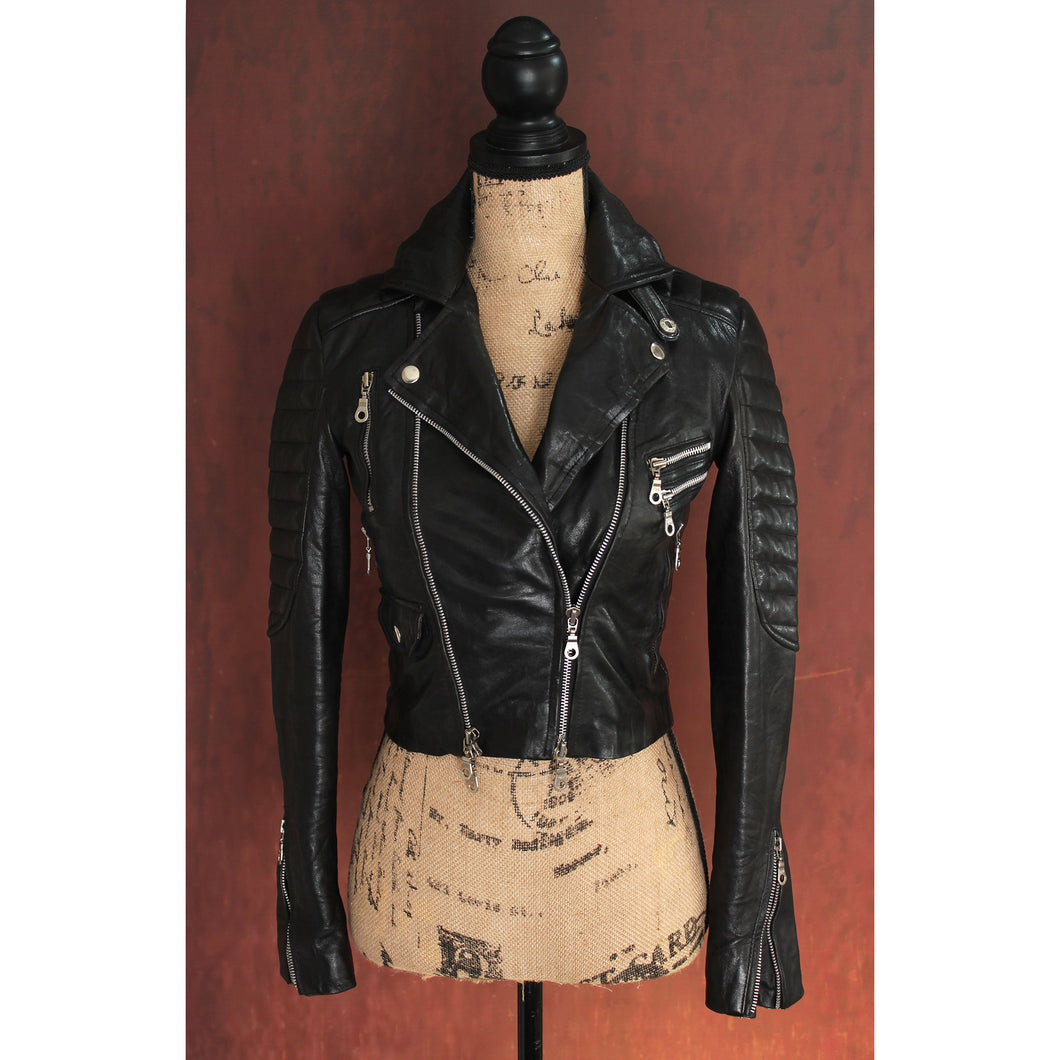 Black Heavy Washed Lambskin Ladies Quilted Double Rider Biker Jacket